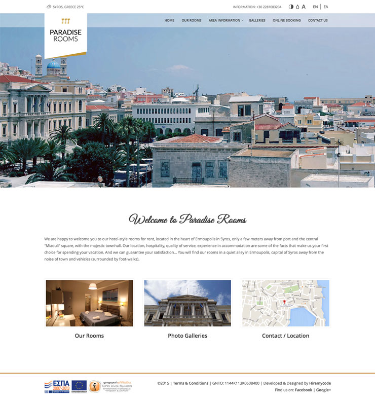 Paradise Rooms to let in Syros